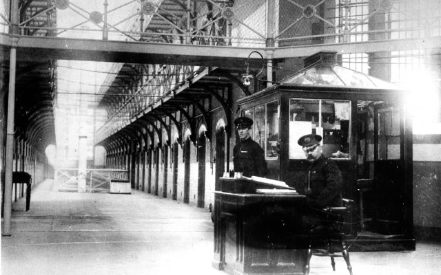 black and white image of inside a prison