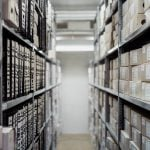 rows of boxes in an archives